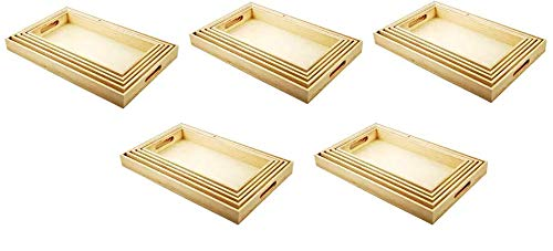 Multicraft Imports WS410 5-Piece Paintable Wooden Trays with Handles 6-5//8 by 13-Inch to 10-1//8 by 16-1//8-Inch Fivе Расk