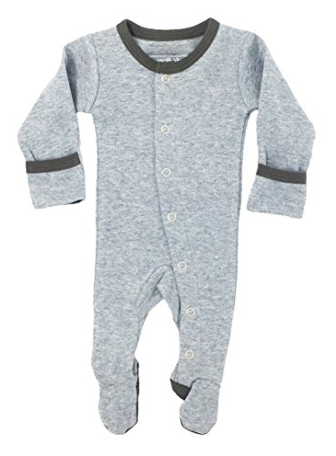 L'ovedbaby Unisex-Baby Organic Cotton Footed Overall (0-3 Months, Gray/Heather Gray)