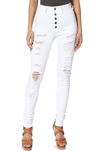 TheMogan Women's High Waisted Ripped Distressed Destroyed Skinny Jeans White 7
