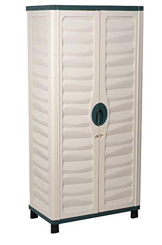 Starplast Storage Cabinet with 2 Shelves, Beige/Green