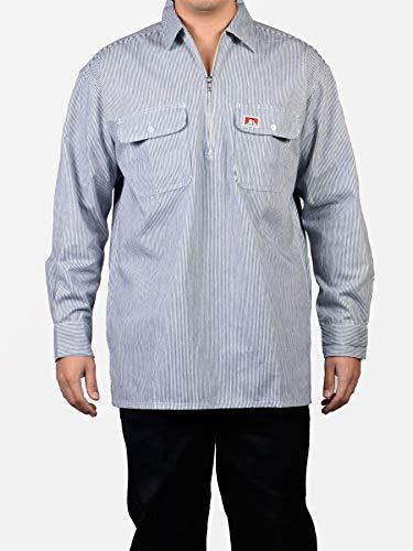 Ben Davis Men's 1/2 Zipper Stripe Long Sleeve Shirt 3XL Hickory Stripe ()