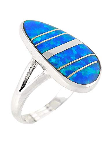 - Blue Opal Ring Sterling Silver 925 (SELECT COLOR) (Opal-16, 6)