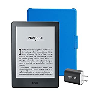 """Kindle Essentials Bundle including Kindle 6"""" E-Reader (Previous Generation - 8th), Black with Special Offers, Amazon Cover for Kindle – Blue, and Power Adapter"""