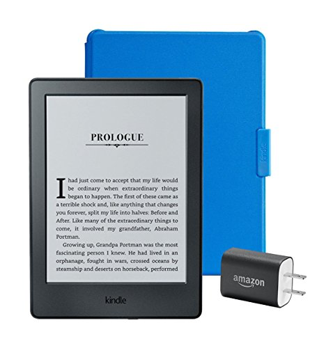 """Kindle Essentials Bundle including Kindle 6"""" E-Reader, Black with Special Offers, Amazon Cover for Kindle – Blue, and Power Adapter"""