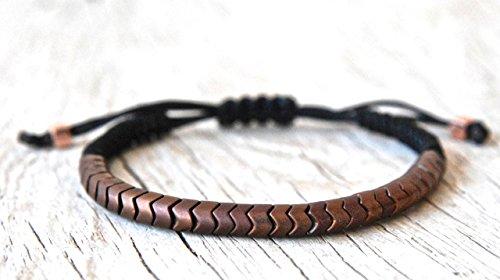 Hematite Gemstone Snack Skin Bracelet, Mens Bracelet