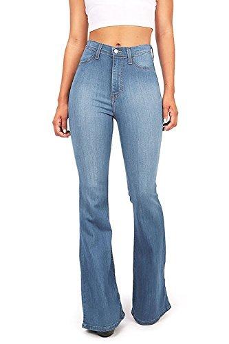(Vibrant Women's Juniors Bell Bottom High Waist Fitted Denim Jeans,Denim,1 )