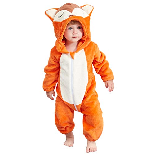 IDGIRL Baby Fox Costume, Animal Cosplay Pajamas for Boy Winter Flannel Romper Outfit 6-12 Months, Orange One Piece -