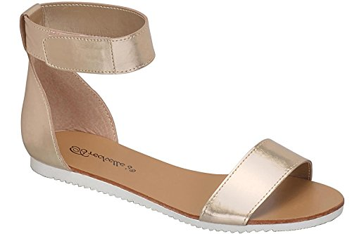 Breckelles Kvinna Minimalistisk Fotled Wrap Kardborrband Komfort Flat Sandal Champagne
