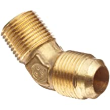 Anderson Metals Brass Tube Fitting, 45 Degree Elbow, Flare x NPT Male