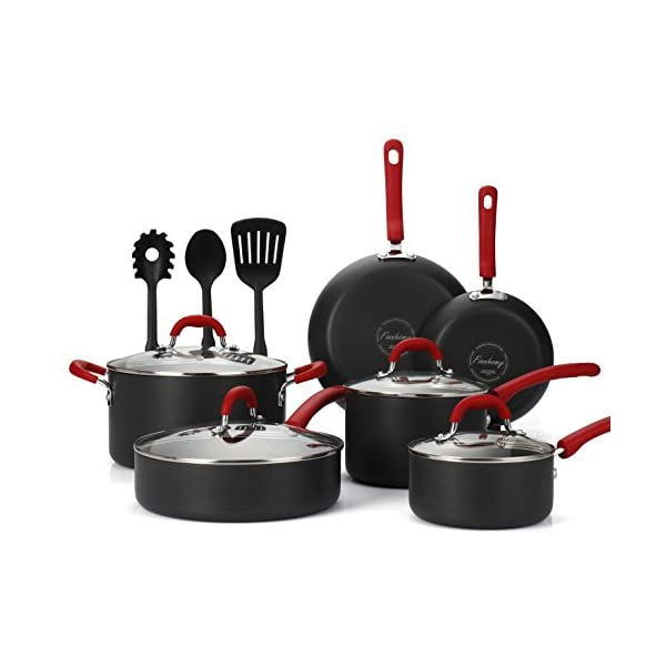 Finnhomy Super Value Hard-Anodized Aluminum Cookware Set, Double Nonstick Coating Kitchen Pots and Pan Set, Professional… 4