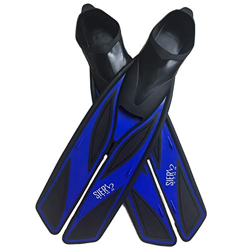 Split Snorkel Fins, Full Foot Diving Fins and Scuba Flippers Fins, Includes Mesh Bag (Blue, XL EUR 45-46 US Men 10.5-11.5 Women 11.5-12.5) (Fins Full Freediving Foot)