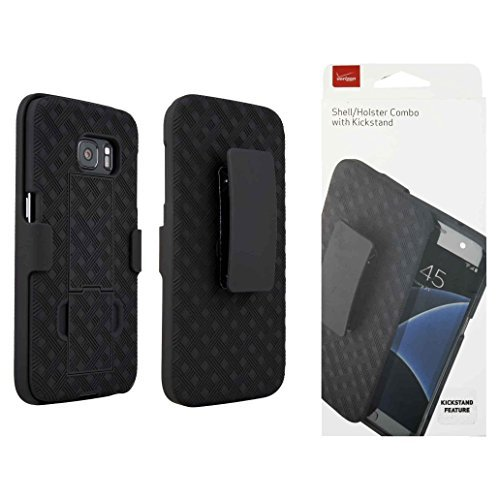 Verizon OEM Shell Holster Stand Combo for Samsung Galaxy S7 - Black (Combo Holster Stand)