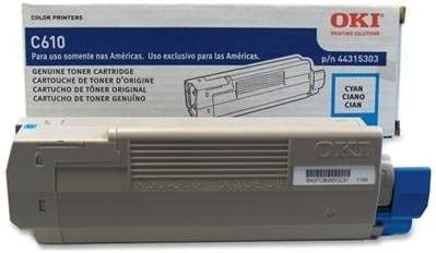 44315303 Oki 44315303 Cyan Toner Cartridge for OKI C610n C610dn C610cdn C610dtn Retail