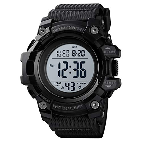 Skmei Sports Watch Men,Digital 5 ATM Watreproof Watches Military Multifunction Display EL Light Wristwatch with Alarm (Large1522Black)