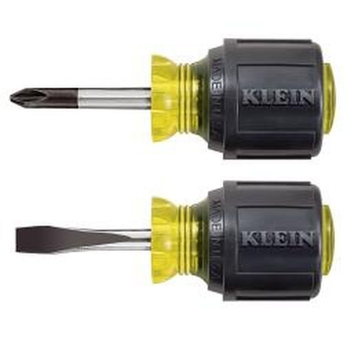 Klein Tools 85071 Stubby Screwdriver Set, Cushion Grip, 2-Piece