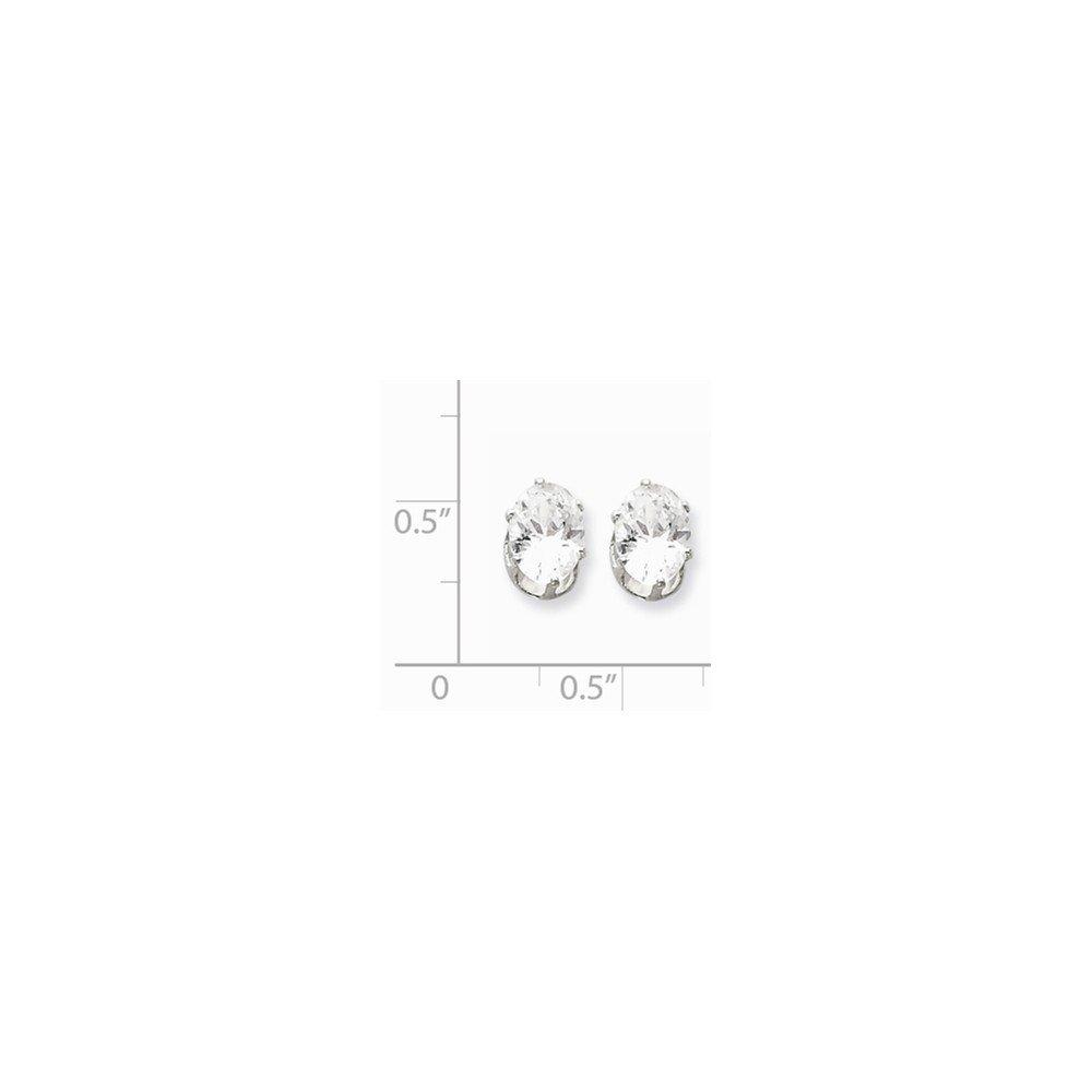 925 Sterling Silver 8x6 Oval Snap Set CZ Stud Earrings