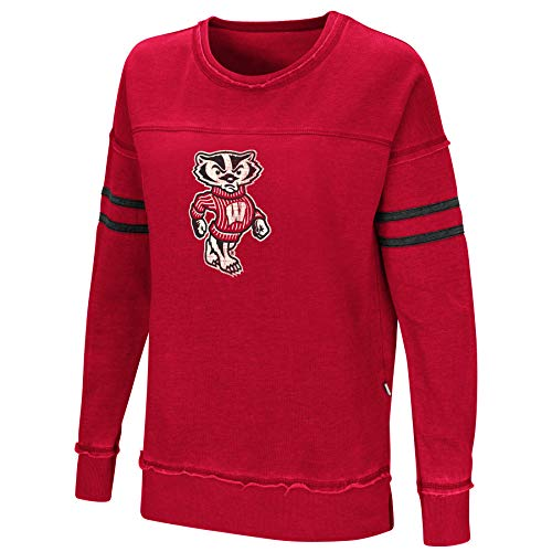 Wisconsin Badgers Fleece - Colosseum Women's NCAA-Home Game- Fleece Retro Vintage Pullover Sweatshirt-Wisconsin Badgers-Cardinal-Small