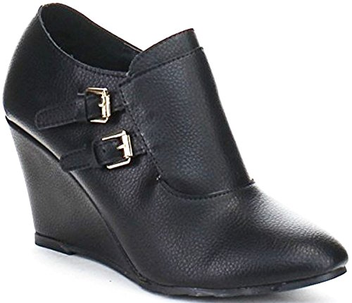 Ziper DEV Shoes Buckle Bella Wedge Almond Strap Heel Marie Bootie Black New Ankle Quilted Side Toe Womens 44cqRH1wz