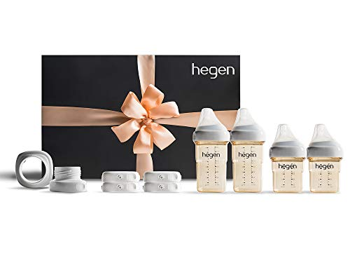 Hegen Newborn Baby Bottle Complete Starter Kit- PPSU Bottle for Babies- Breast Milk Storage Lids, Secure Seal, Medium Teat and Slow Teat, Wide Neck Adapter