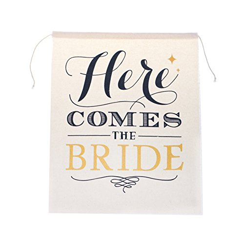 Partys Here Sign Banner (Ling's moment Canvas Here Comes The Bride Sign, 15 x 20)
