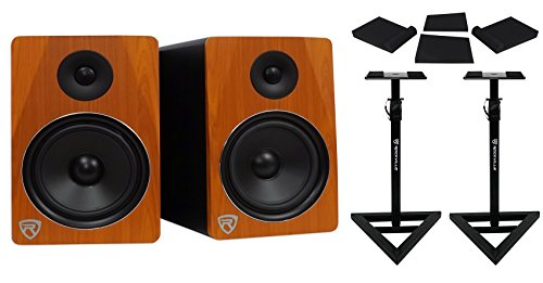 Pair Rockville APM8C 8' 2-Way 500 Watt Powered USB Studio Monitors+Stands+Pads