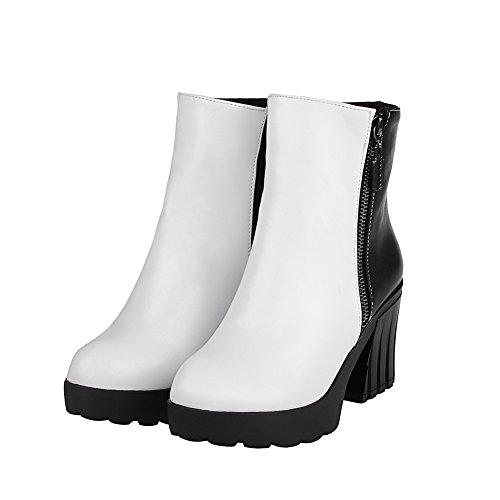 Zipper Closed Material White Boots AgooLar Color Women's Soft Toe High Heels Round Assorted Ynz41Fqxv