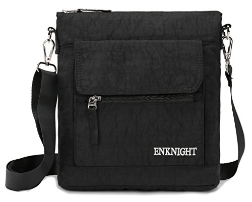 ENKNIGHT Nylon Crossbody Purse Bag for Women Travel Shoulder handbags Black ()
