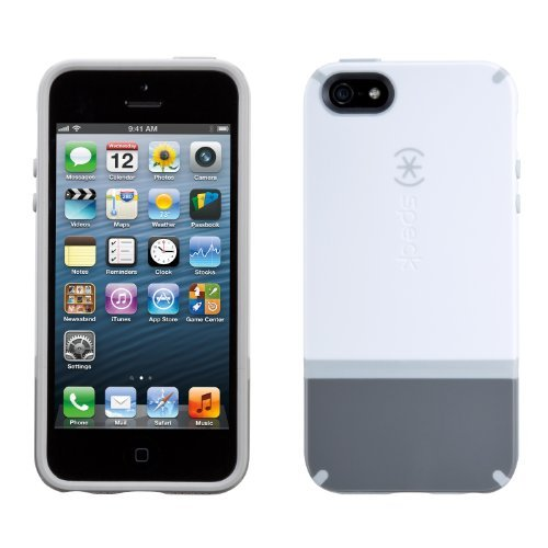 Speck Products SPK-A0842 CandyShell Flip Dockable Case for iPhone 5 - Retail Packaging - White/Graphite Grey/Pebble Grey
