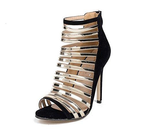 América Alto Romanos Europa Sandalias Zapatos 1 Thin Tacón Colorblock y Belt Hollow de 5xPYqOwrP