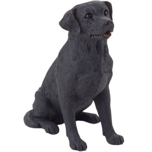 Black Labrador Retriever Figurine - Sandicast Small Size Black Labrador Retriever Sculpture - Sitting