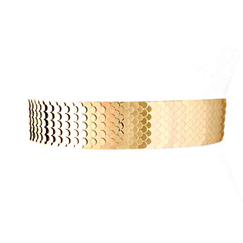 Two 12 Fashion Women'S Scaled Texturized Metallic Belt, Gold, SM-MED, FITS 27-38