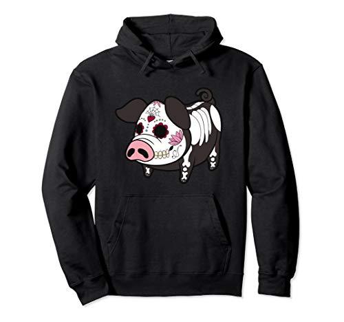 Dia De Los Muertes Pig Farmer Halloween Mexican Pullover Hoodie -