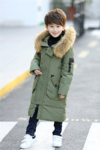 de Winter Army Down piel Green Boy For bolsillos Warm Boy Jacket Hood Child Ahatech Coat Jacket 41Iqwcc8