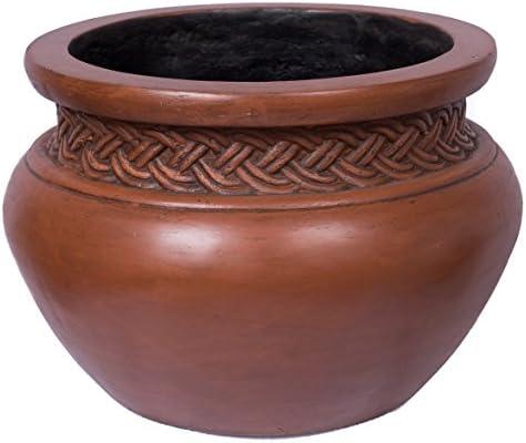 BirdRock Garden 16 Dia Platted Jar – Medium Dark Brown – Outdoor Planter Urn