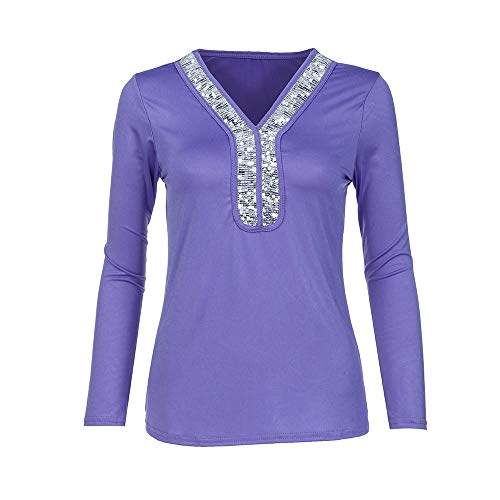 TUSANG Womens Tees Fashion Casual Sequins Long Sleeve V-Neck T-Shirt Solid Blouse Loose Tops Slim Fit Comfy Tunic(Blue,US-14/CN-3XL)