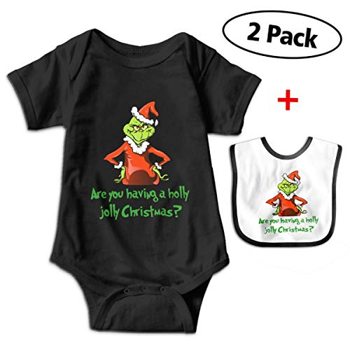 Bennett The-Grinch-Stole Christmas Baby Short-Sleeve Baby Climbing Clothes Romper Bodysuit Outfits with Bib for New Born Boys & Girls (0-24 Months) ()
