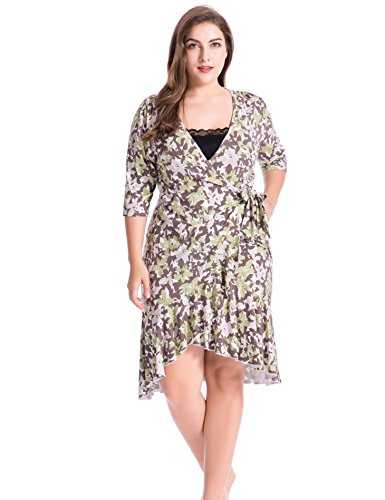 841b7a0acb Chicwe Women's Plus Size Stretch Floral Printed Flirty Flounce Wrap Dress -  Casual and Party Dress - Buy Online in Oman. | Apparel Products in Oman -  See ...