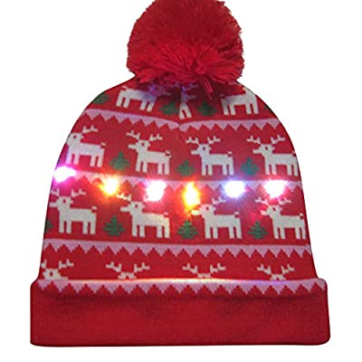 Gallity Ugly Warm Cap Colorful Merry Christmas LED Light-up Hat Knitted Kintted Cap Xmas Gift