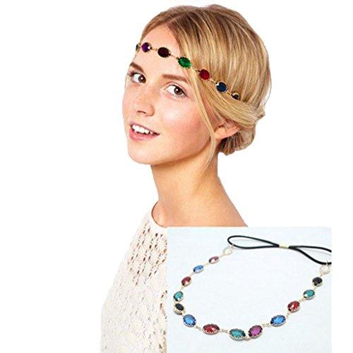 [Usstore 1PC Women lady Headwear Headband Colorful Oval Head Chain Jewelry Sparkling Gems Head Piece Hair] (70s Baby Costume)