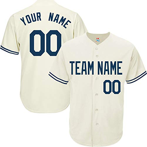 (Pullonsy Cream Customized Baseball Jersey for Men League Embroidered Team Player Name & Numbers,Navy Size M)