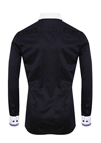 Giorgio Capone Herrenhemd, schwarz mit weissen und lila Akzenten, Langarm, Button-Down-Kragen, Slim/Normal & Regular-Plus Fit