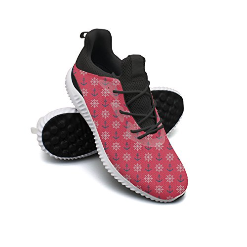 Dutte Lisa Men's Nautical Anchor Ship Shaft Red Casual Sneaker Breathable Mesh Flat Running Shoes