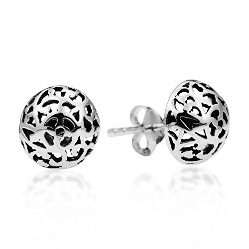 Filigree Swirl Dome Mosaic .925 Sterling Silver Post Earrings (Mosaic Filigree)