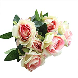 Juesi Artificial Flower, Fake Silk Roses Flower Bridal Bouquet Wedding Party Home Decor 48