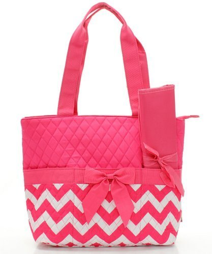 quilted pink diaper bag - 4