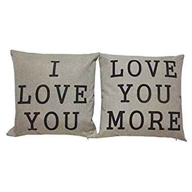 Lydealife (TM)18 X 18  Cotton Linen Decorative Couple Throw Pillow Cover Cushion Case Couple Pillow Case, Set of 2 - I Love You & Love you More LD094
