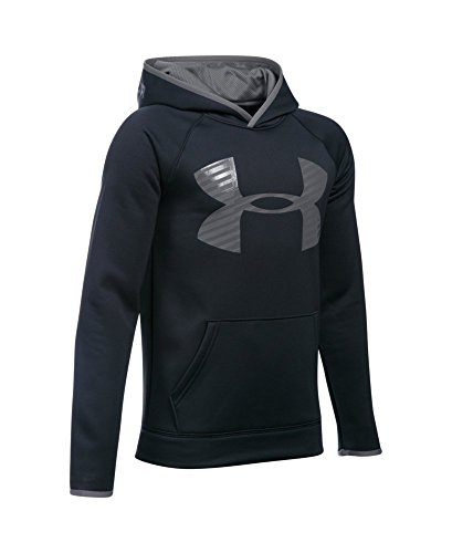 Under Armour Boys' Storm Armour Fleece Highlight Big Logo Hoodie, Black/Graphite, Youth X-Large