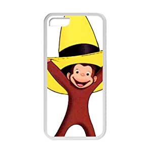 iPhone 5C Case [Lightweight] Personalize Rugged Protective Durable Case with Cartoon's Design of Cute Monkey With Yellow Hat [Non-Slip] Shock Absorbing and Scratch Resistant Perfect 2 in 1