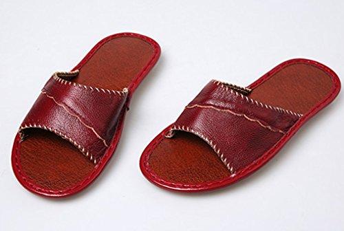 Cattior Donna Open Toe Cozy Pantofole Da Donna Pantofole In Pelle Rosso Scuro