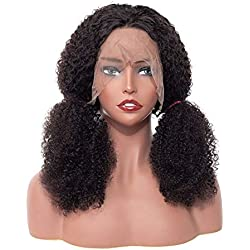 """BLY Mongolian Kinky Curly Virgin Human Hair Lace Front Wigs Knots Bleached Hair Jerry Curl Afro Wigs Pre-Plucked with Baby Hair Natural Hairline for African American Women (13x4 Lace Front Wig 18"""")"""